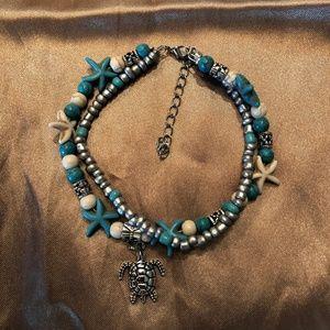 Star Fish & Turtle ankle bracelet